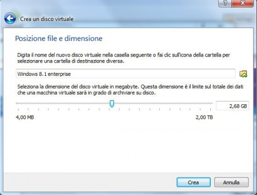 virtual box 7crea disco dimensione disco.JPG