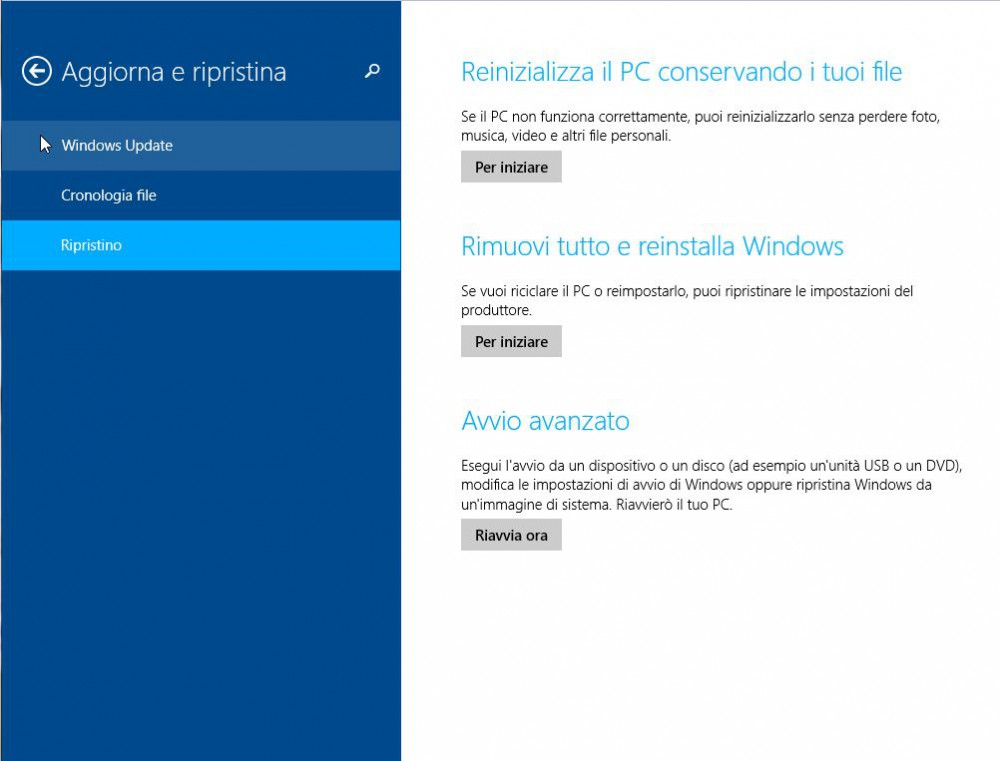 Come ripristinare, reinizializzare o reimpostare tablet e pc windows 8.1