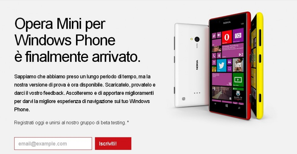 opera mini per windows phone