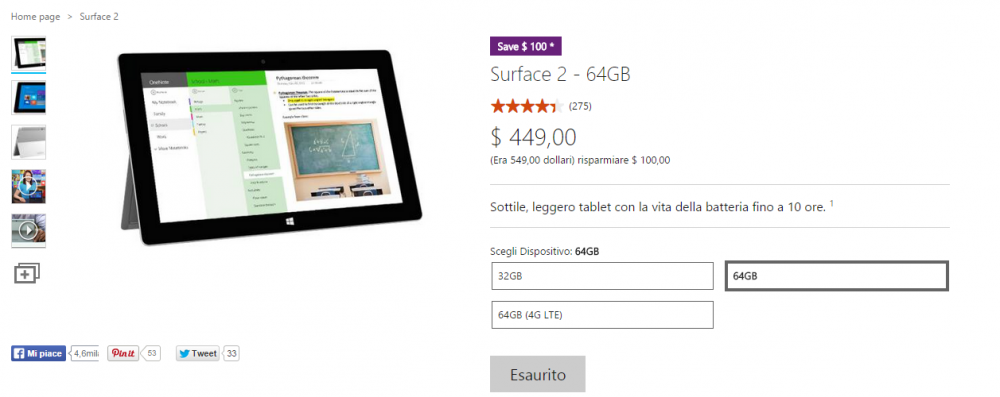 surface 2 esaurito