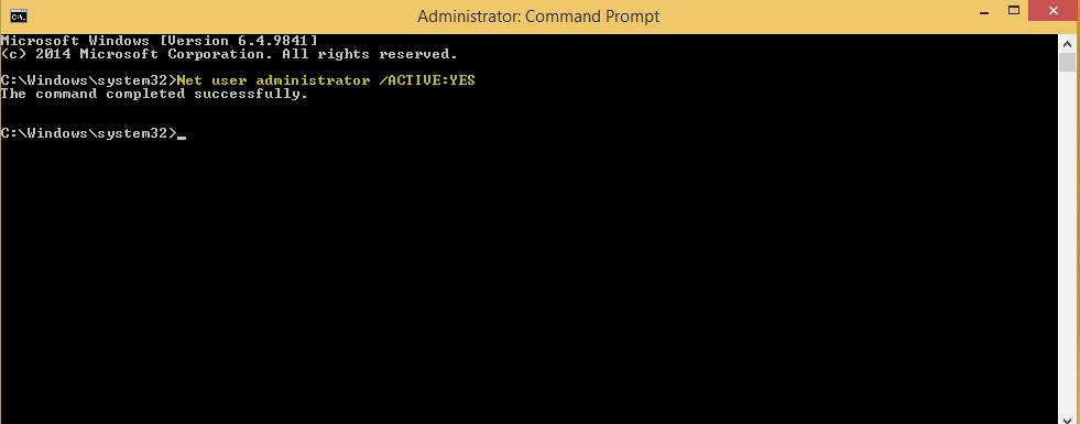 attivare administrator