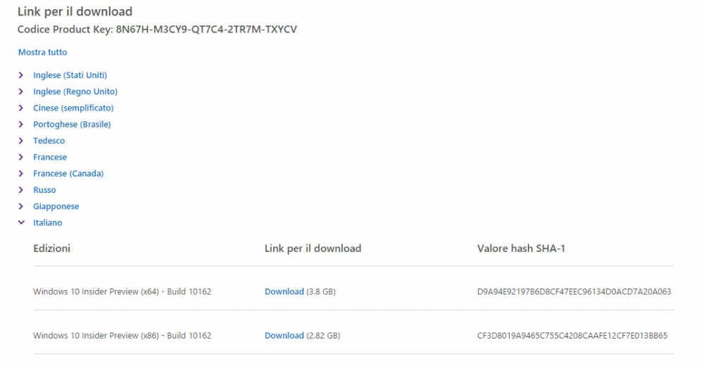 Download iso windows 10 build 10162 e codice product key ...
