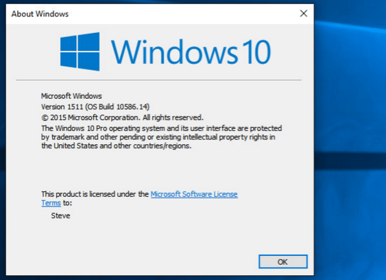 windows10 version 10586.14