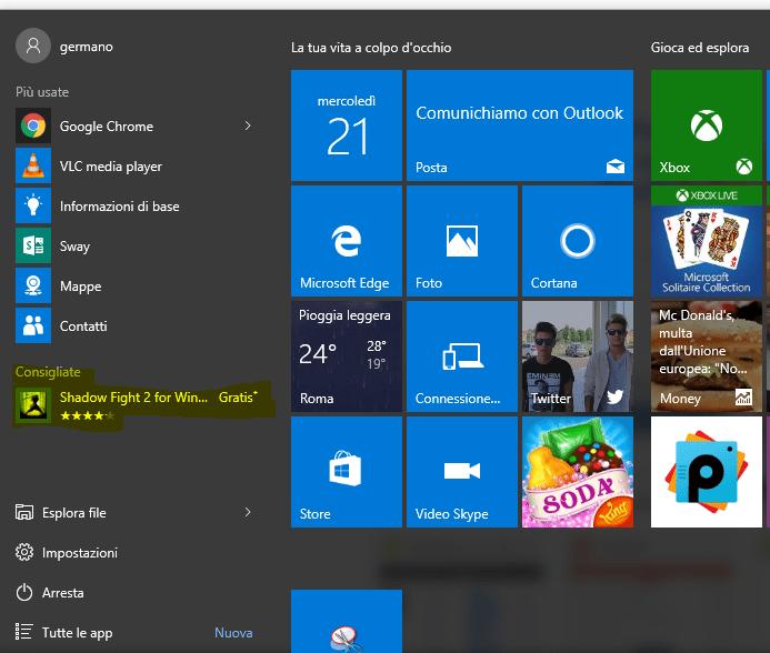 Windows 10 e le applicazioni consigliate direttamente dal menu start