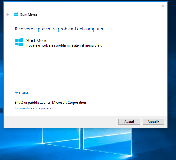 Come ripristinare il menu start Windows 10 se da errori o problemi